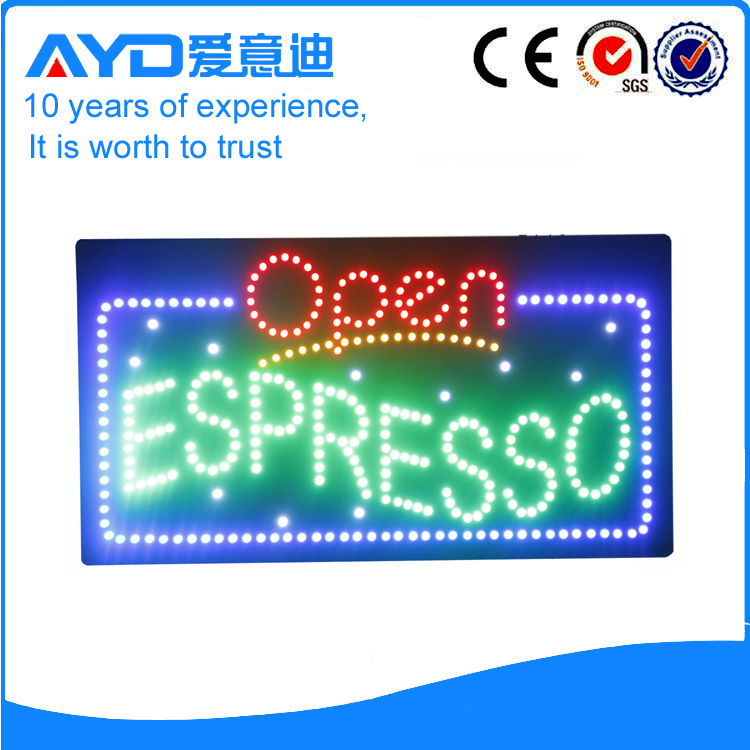 AYD LED Open Espresso Sign