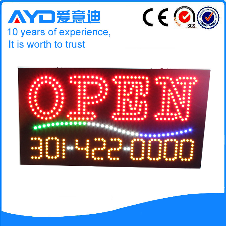 AYD Phone Number LED Open Sign